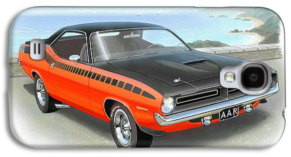 1970 Barracuda Aar  Cuda Classic Muscle Car Galaxy S4 Case by John Samsen