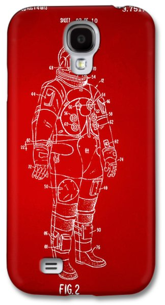 1973 Astronaut Space Suit Patent Artwork - Red Galaxy S4 Case by Nikki Marie Smith