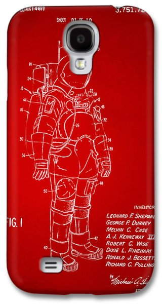 1973 Space Suit Patent Inventors Artwork - Red Galaxy S4 Case by Nikki Marie Smith
