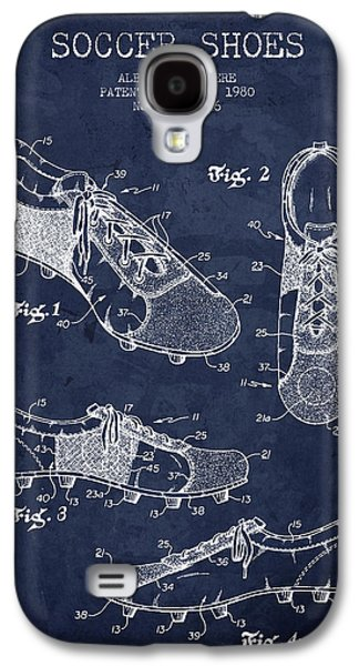 1980 Soccer Shoe Patent - Navy Blue - Nb Galaxy S4 Case by Aged Pixel