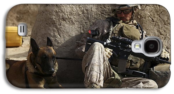 Working Dog Galaxy S4 Cases - A Dog Handler And His Military Working Galaxy S4 Case by Stocktrek Images