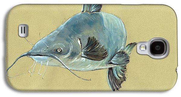 Channel Catfish Fish Animal Watercolor Painting Galaxy S4 Case by Juan  Bosco