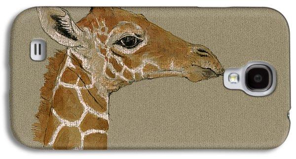 Giraffe Head Study  Galaxy S4 Case by Juan  Bosco