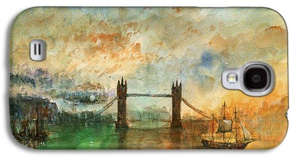 London Watercolor Painting Galaxy S4 Case by Juan  Bosco