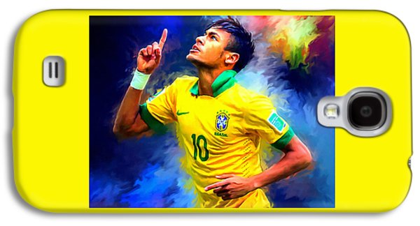 Neymar Football Soccer Landscape Art Painting Galaxy S4 Case by Andres Ramos