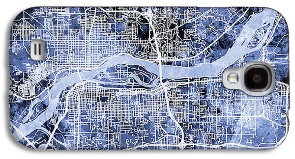 Quad Cities Street Map Galaxy S4 Case by Michael Tompsett