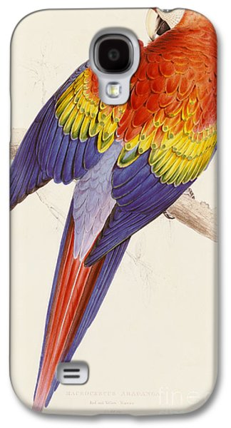 Red And Yellow Macaw Galaxy S4 Case by Edward Lear