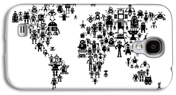 Robot Map Of The World Map Galaxy S4 Case by Michael Tompsett