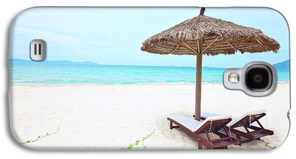 Chaise Galaxy S4 Cases - Sandy tropical beach Galaxy S4 Case by MotHaiBaPhoto Prints