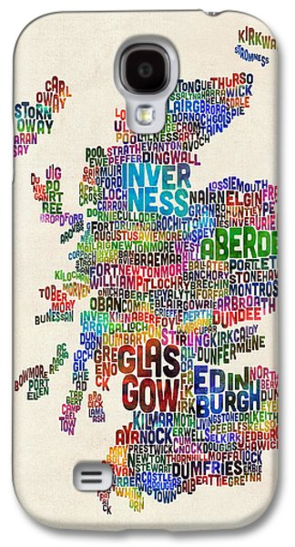 Scotland Typography Text Map Galaxy S4 Case by Michael Tompsett