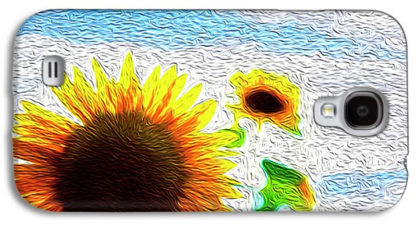 Sunflowers Abstract Galaxy S4 Case by Les Cunliffe