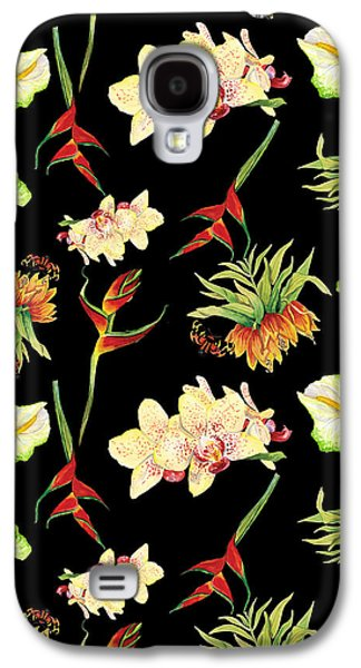 Tropical Island Floral Half Drop Pattern Galaxy S4 Case by Audrey Jeanne Roberts