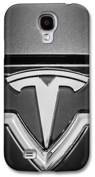 2013 Tesla Model S Emblem -0122bw2 Galaxy S4 Case by Jill Reger