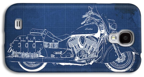 Wild Racers Galaxy S4 Case - 2016 Indian Chief Vintage Motorcycle Blueprint, Blue Background by Pablo Franchi