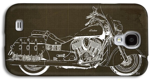 Wild Racers Galaxy S4 Case - 2016 Indian Chief Vintage Motorcycle Blueprint, Brown Background by Pablo Franchi
