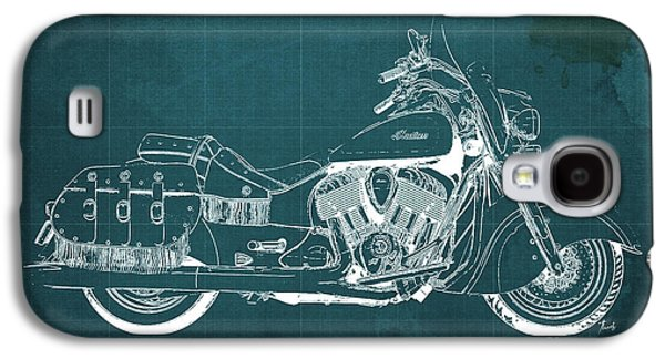 Wild Racers Galaxy S4 Case - 2016 Indian Chief Vintage Motorcycle Blueprint, Green Background. Gift For Men by Pablo Franchi