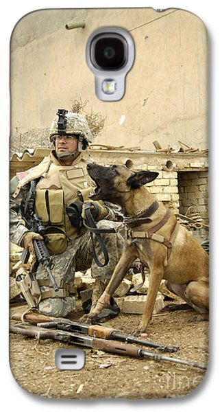 Guard Dog Galaxy S4 Cases - A Dog Handler And His Military Working Galaxy S4 Case by Stocktrek Images