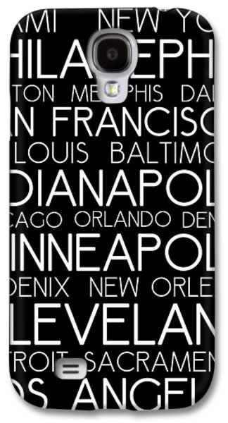 American Cities In Bus Roll Destination Map Style Poster Galaxy S4 Case by Celestial Images