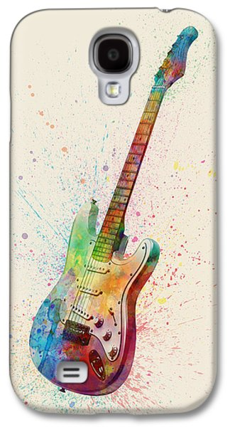 Electric Guitar Abstract Watercolor Galaxy S4 Case by Michael Tompsett