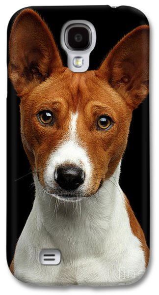 Pedigree White With Red Basenji Dog On Isolated Black Background Galaxy S4 Case by Sergey Taran