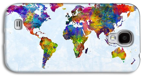 Watercolor Map Of The World Map Galaxy S4 Case by Michael Tompsett