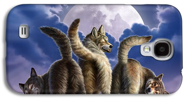 Moon Digital Galaxy S4 Cases - 3 Wolves Mooning Galaxy S4 Case by Jerry LoFaro