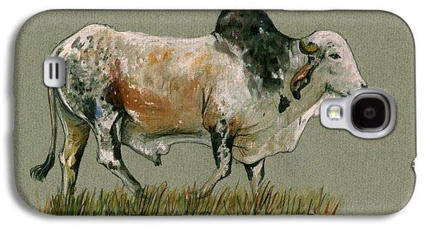 Zebu Cattle Art Painting Galaxy S4 Case by Juan  Bosco