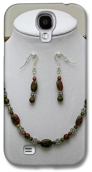 Round Jewelry Galaxy S4 Cases - 3525 Unakite Necklace and Earring Set Galaxy S4 Case by Teresa Mucha