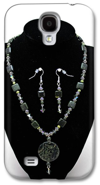 Design Jewelry Galaxy S4 Cases - 3576 Kambaba and Green Lace Jasper Necklace and Earrings Galaxy S4 Case by Teresa Mucha