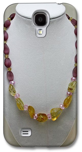 Yellow Jewelry Galaxy S4 Cases - 3603 Citrine and Amethyst Cats Eye Necklace Galaxy S4 Case by Teresa Mucha