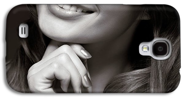 Chin Up Galaxy S4 Cases - Beautiful Young Smiling Woman Galaxy S4 Case by Oleksiy Maksymenko