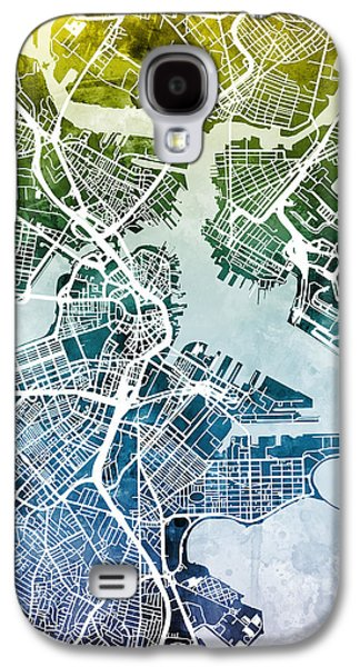 Boston Massachusetts Street Map Galaxy S4 Case by Michael Tompsett