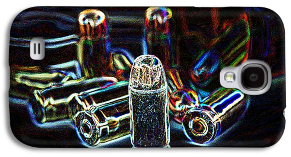 Pop Art Of .45 Cal Bullets Comming Out Of Pill Bottle Galaxy S4 Case by Michael Ledray