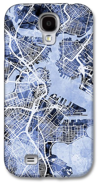 City Scenes Galaxy S4 Case - Boston Massachusetts Street Map by Michael Tompsett
