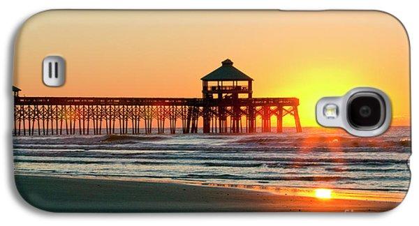 Ocean. Reflection Galaxy S4 Cases - Folly Beach Pier Sunrise Galaxy S4 Case by Dustin K Ryan