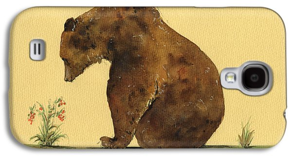 Grizzly Bear Watercolor Painting Galaxy S4 Case by Juan  Bosco