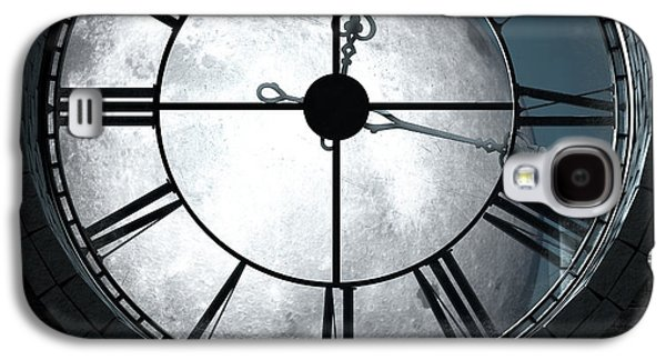 Antique Backlit Clock And Moon Galaxy S4 Case by Allan Swart