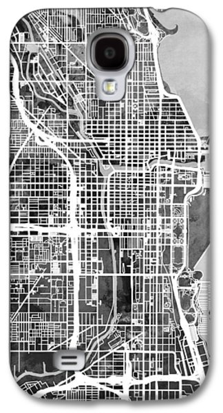 Chicago Galaxy S4 Case - Chicago City Street Map by Michael Tompsett