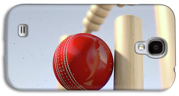 Cricket Ball Hitting Wickets Galaxy S4 Case by Allan Swart