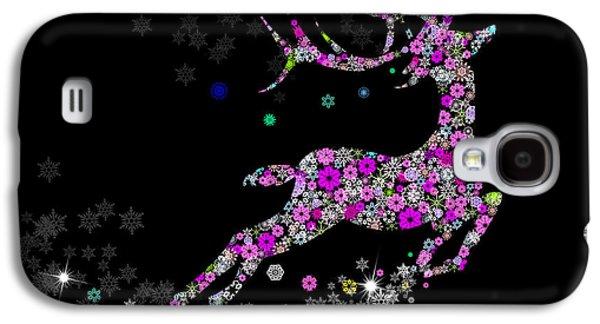 Greeting Digital Art Galaxy S4 Cases - Reindeer design by snowflakes Galaxy S4 Case by Setsiri Silapasuwanchai