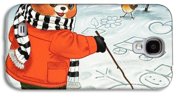 Teddy Bear Christmas Card Galaxy S4 Case by William Francis Phillipps