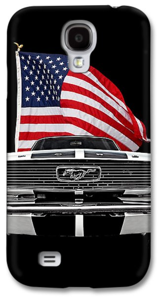 66 Mustang With U.s. Flag On Black Galaxy S4 Case by Gill Billington
