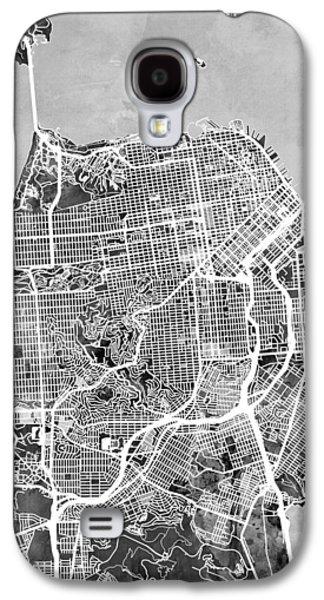 San Francisco City Street Map Galaxy S4 Case by Michael Tompsett