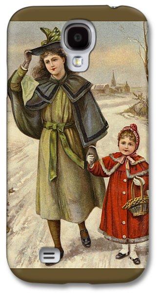 Vintage Christmas Card Galaxy S4 Case by English School
