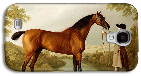 A Bay Racehorse Held By A Groom In An Extensive Landscape Galaxy S4 Case