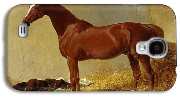 A Bay Racehorse In A Stall, 1843 Galaxy S4 Case by John Frederick Herring Snr