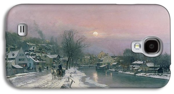 A Canal Scene In Winter  Galaxy S4 Case by Anders Anderson Lundby