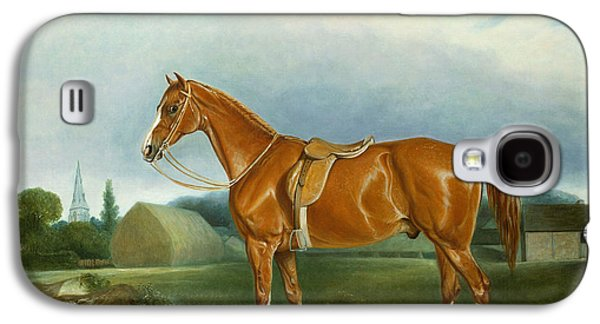 A Chestnut Hunter And A Spaniel By Farm Buildings  Galaxy S4 Case by John E Ferneley