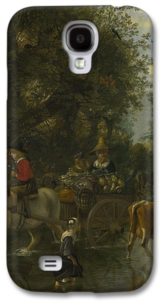 A Cowherd Passing A Horse And Cart In A Stream Galaxy S4 Case by Jan Siberechts