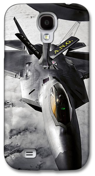 Mechanism Galaxy S4 Cases - A Kc-135 Stratotanker Refuels A F-22 Galaxy S4 Case by Stocktrek Images